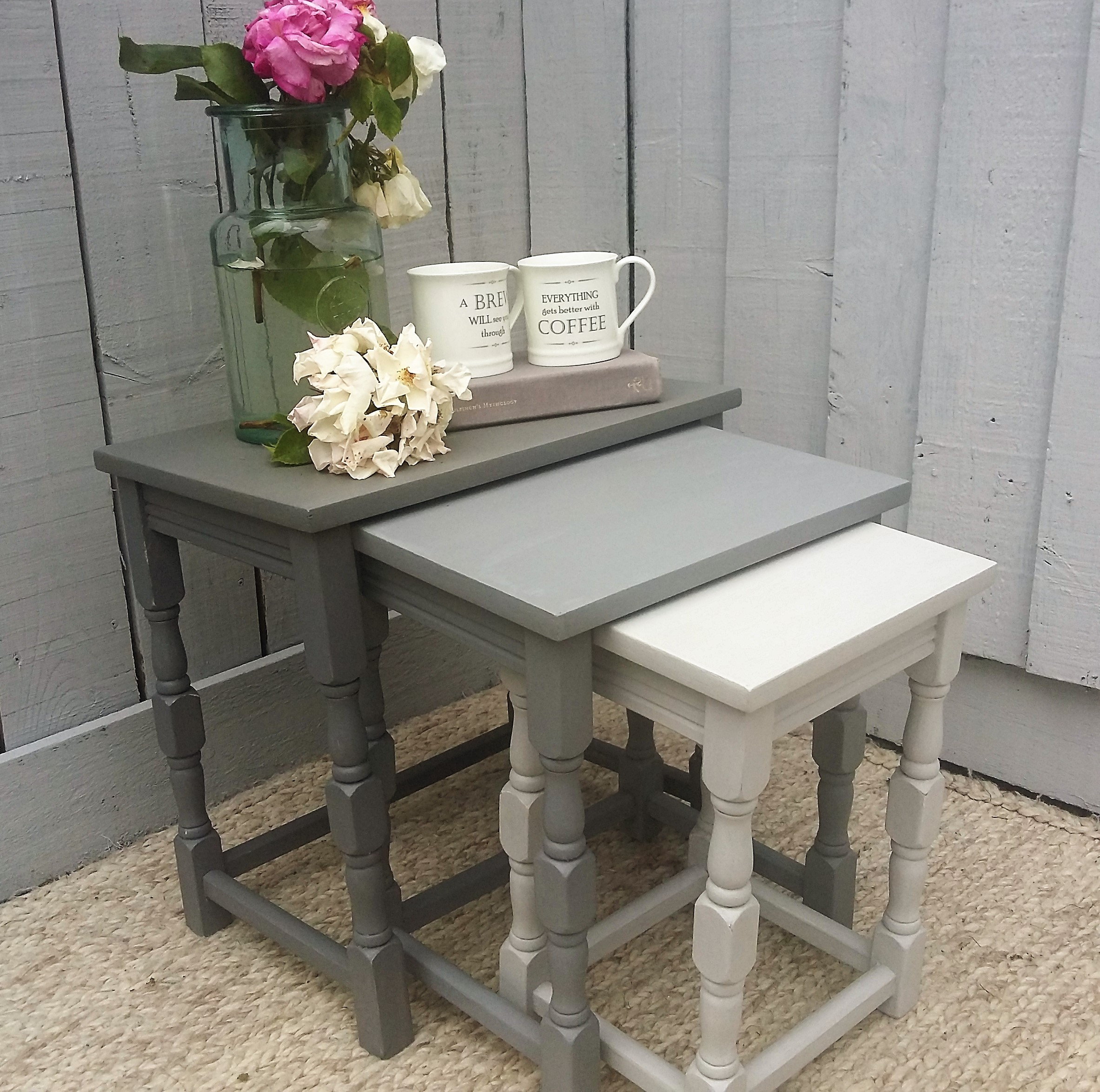 Shabby Chic Nesting Tables ~ Shabby chic nest of tables in trio farrow ball shades