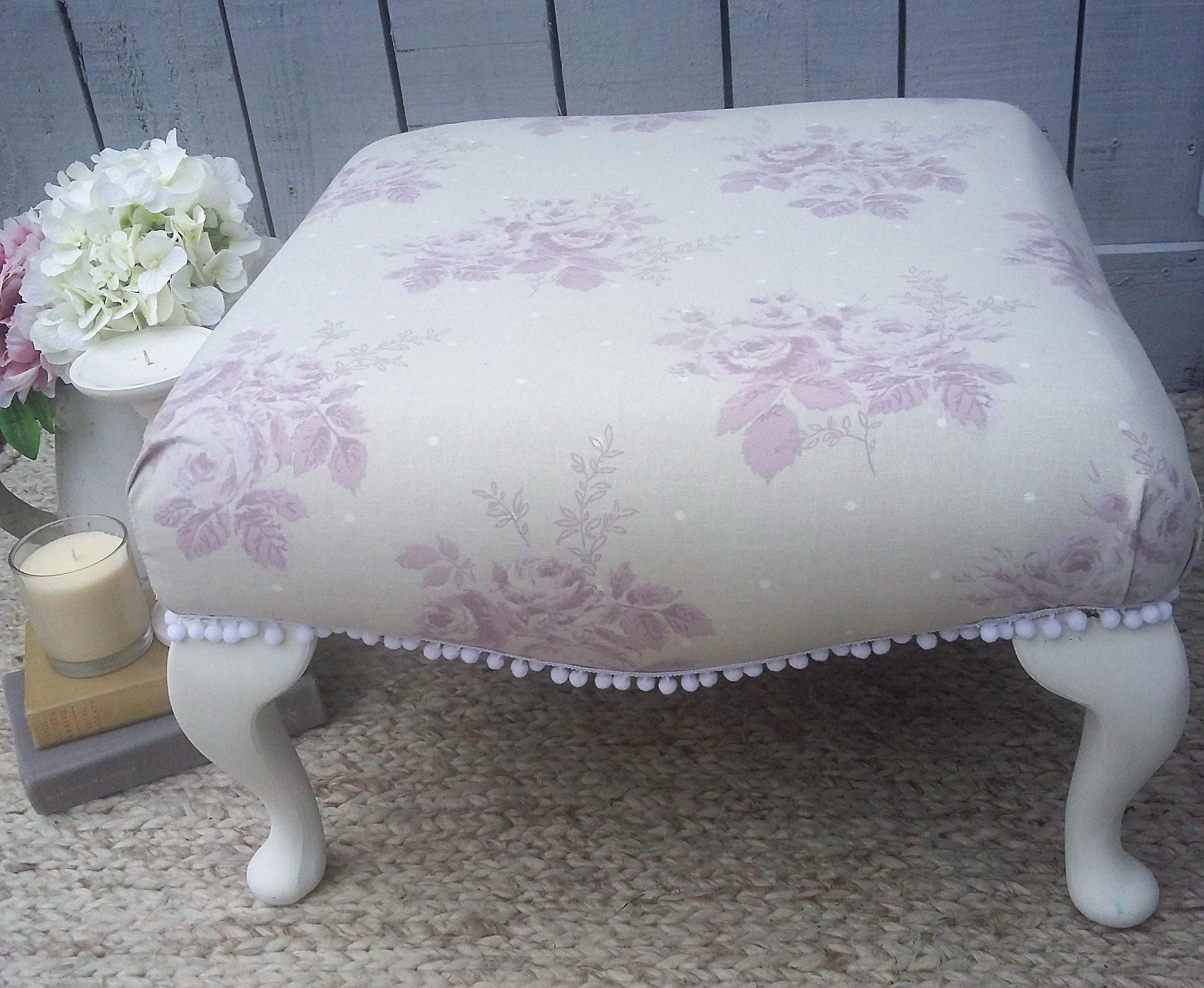 shabby chic vintage posy footstool with pom pom trim bees knees rh beeskneesfurniture co uk shabby chic furniture footstool large shabby chic footstool